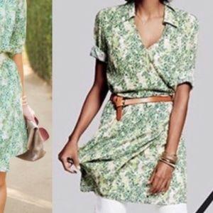 CAbi tropical leaf print faux wrap dress New